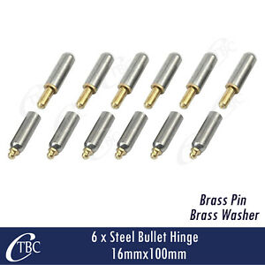 6x Hinge Steel Bullet 16mmx 100mm Greasable Brass Pin & Washer Trailer Gate Door