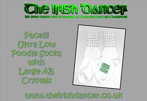Pacelli Ultra Low Large AB Diamonted Poodle Socks - Irish Dancing