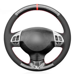 Black Carbon Fiber Suede Steering Wheel Cover For Mitsubishi Lancer X Outlander