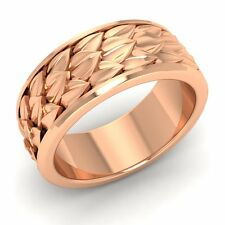 Vintage Inspired Mens Wedding Anniversary Band/Ring 10k Rose Gold-8.5 MM Width