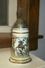 Regimental German Military Stein with Lithophane of a Soldier and his Wife