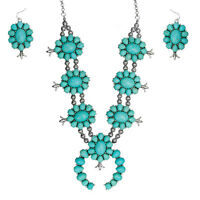 SQUASH BLOSSOM NECKLACE set in turquoise and silver tone