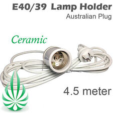 AUSTRALIAN PLUG 4.5M E40 CERAMIC CFL LAMP HOLDER HYDROPONIC GROW TENT LIGHT