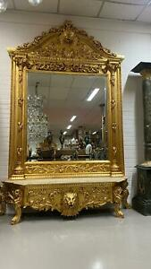 CONSOLE - PALACE GOLD CONSOLE WITH MIRROR IN WOODEN FRAME #MB120