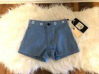 New Womens Rag & Bone Denim Shorts  Slim-Fit High-Rise Shorts Powder blue $245