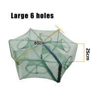 6/8/12Holes Folded Portable Hexagon Fishing Net Crayfish Fish Automatic Trap QS