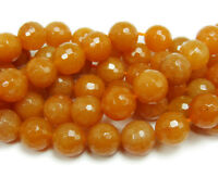"16"" Strand Semi Precious Gemstone Red Aventurine Faceted Round Bead 6mm UK EBAY"