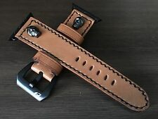 Apple Watch Band 38mm and 42mm strap, Genuine Leather, Beige, FREE SHIPPING