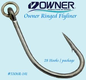 🌟 Owner Ringed Flyliner Sz 4/0 Offeshore Live Bait Black Chrome Hook 5306R-141