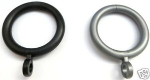 Curtain Rings Black, White or Grey Plastic 28mm Inner dia,  Various pack Qty