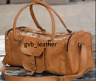Vintage Men's Genuine Gvb_Leather Travel Duffel Weekend Bag Lightweight Luggage