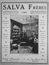 PUBLICITÉ 1928 SALVA FRÈRES ANTIQUITÉS DÉCORATION MEUBLES BUFFETS - ADVERTISING