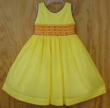 NWT Tutti Color Flower Girl Yellow Smocked Hand Embroidered Dress 4 New Party