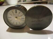 TIFFANY & CO. Brass Folding Analog Travel Desk Alarm Clock - SWISS MADE