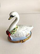 Limoges Box Twelve of Days Christmas 7 Swans Swimming Artoria Peint Main