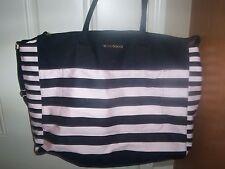 Victoria's Secret Pink Black Stripe Weekender Getaway Tote Travel Bag ~ FREE SHI
