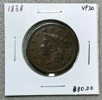 1838 MATRON HEAD or CORONET HEAD LARGE CENT ~ VF++ CONDITION!  C1414
