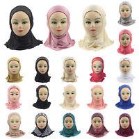 Muslim Kids Girls Soft Hijab Scarf Islamic Breathable Caps Shawls Arab Headscarf