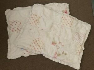 Simply Shabby Chic Pink Floral White Chenille Patchwork Cottage Pillow Sham Set