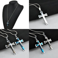 New Unisex's Men Cool Stainless Steel Cross Pendant Necklace Chain Jewelry Gift