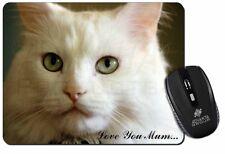 White Cat 'Love You Mum' Computer Mouse Mat Christmas Gift Idea, AC-79lymM