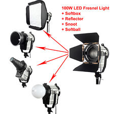 100W LED Fresnel Light + Softbox + Fabric Grid + Snoot + reflector + softball