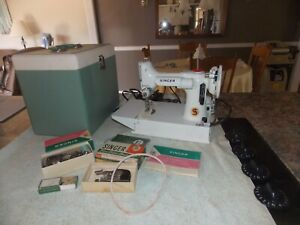 Singer Featherweight With Case Book & Lots Of Accessories White/Pale Green????