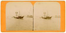 Stereo, Le Havre, remorqueur entrant au port, circa 1870 Vintage stereo card -