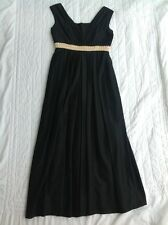 Blanes Vintage Grecian Style Dress 50s 60s Size 14 Black Maxi Long Gold Detail
