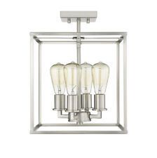 """Satin Nickel Semi-Flush 4 Lights No Glass 11.5""""H Industrial Close to Ceiling NEW"""