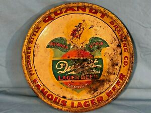 "RARE Antique Quandt Lager Beer Tray 13-1/4"" Pie  Troy NY - VINTAGE NOT A REPRO"