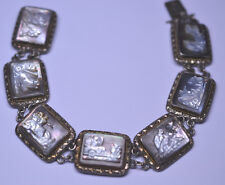 VINTAGE 800 SILVER ROMAN GODS 7 DAYS OF WEEK CARVED MOTHER OF PEARL MOP BRACELET