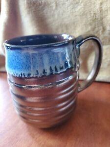La Rochelle Tall Artisan Handcrafted Stoneware Blue/Brass Mug
