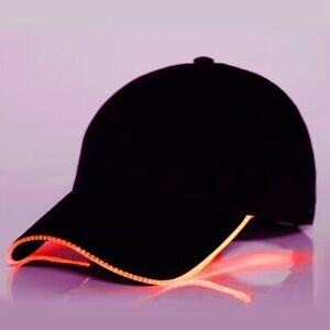 Fashion LED Peaked Cap Black Cotton Light Up Baseball Caps for Men Women