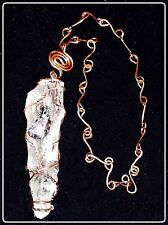 """COPPER WRAPPED GREEN AMETHYST POINT PENDANT COPPER""""S""""LINK 20""""CHAIN DRUZY AGATE"""