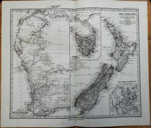 Western Australia Tasmania New Zealand Auckland 1875 Petermann detailed map