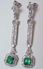 Antique Art Deco Vintage Colombian Emerald Platinum Earrings E-3.60CT D-1.64CT