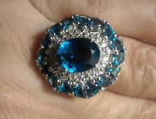 London Blue Topaz, white topaz, Ring- size 6. Cocktail Style.  6.8cts
