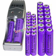 16 AA 3000mAh+ 16AAA 1800mAh 1.2V NI-MH purple Rechargeable Battery +USB Charger