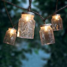 Mason Jar Mini String Lights 10 Count Outdoor Garden Patio Lighting Party  Decor