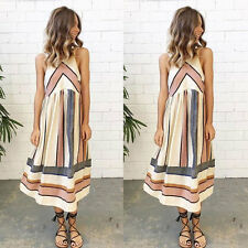 BOHO Ladies Sleeveless Party Tops Womens Summer Beach Striped Dress UK SIZE 6-12