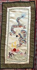 """Antique Chinese Panel Wall Hanging Hand Embroidery On Silk 13""""X 25"""""""