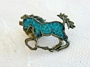 Vintage Galloping Horse Tie Tack Sterling Silver Turquoise Chips