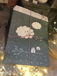 15 x Kraft Gift Party Paper Bags Clouds Green East of India Christmas Wrap