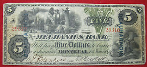 Mechanics Bank, Montreal, $5 Obsolete Bank Note, 1872, BEAUHARNOIS Overstamp