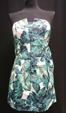 HEARTS & BOWS LADIES GREEN SATURN LEAF PRINTED STRAPLESS PLAYSUIT REDUCED NOW £6