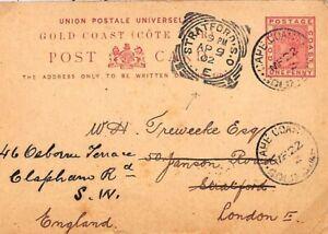 GOLD COAST QV Stationery Card GOLD MINING GB Stratford Squared Circles 1902 B311