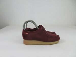 Clarks Wallabee Burgundy Maroon Suede Chukka Lace Up Ankle Womens Size 6 M