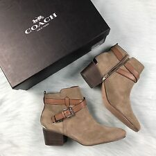 NEW Coach Pauline Suede Slate Ankle Booties Boots Size 8.5 Leather Buckles