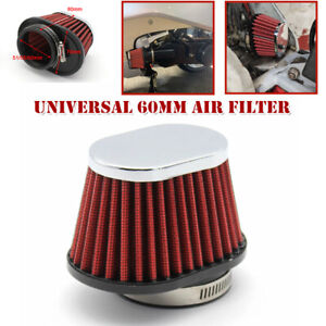 60mm Air Filter Carburetor Pod Cleaner Elliptical Intake Tube Universal ATV Bike